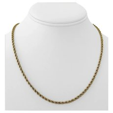 """14k Yellow Gold 15.6g Solid Ladies 3mm Rope Chain Necklace 18"""""""