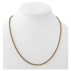 """14k Yellow Gold 17.4g Solid Heavy 3mm Rope Chain Necklace 19"""""""