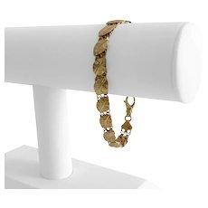"14k Yellow Gold 9.9g Ladies Fancy Leaf Link Bracelet Italy 7"""