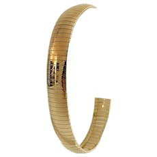 "14k Yellow Gold 16.2g Ladies 10mm Omega Link Bracelet Italy 7.25"""