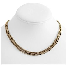 """14k Yellow Gold 12.2g Interlocking Curb Link Chain Necklace Italy 17"""""""