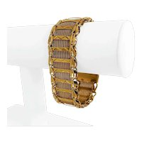 "14k Yellow Gold 40.4g Vintage Ladies Fancy Diamond Cut Mesh Bracelet 7.5"""