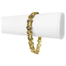 "14k Yellow Gold 18.9g Ladies 10mm Fancy Link Bracelet Italy 7.25"""