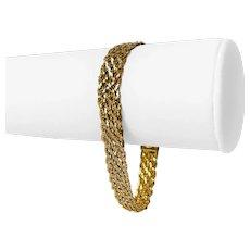 "14k Yellow Gold 10.6g Ladies Sparkling Interwoven Cobra Link Bracelet Italy 7"""