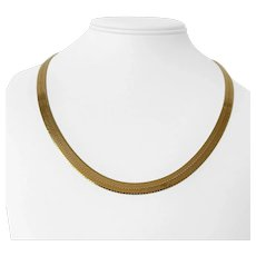 """14k Yellow Gold 26.8g Solid Thick 6mm Herringbone Link Chain Necklace Italy 20"""""""