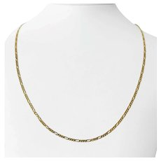"""18k Yellow Gold 4.7g Light Thin 2mm Figaro Link Chain Necklace Israel 22"""""""