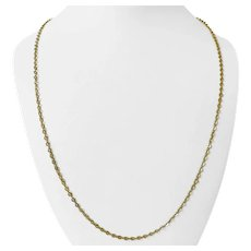 18k Yellow Gold 6.3g Solid Thin Circle Cable Link Chain Necklace Italy 25""