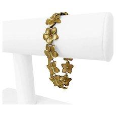 "14k Yellow Gold 15.7g Ladies Satin Finish 15mm Floral Link Bracelet 7.25"""