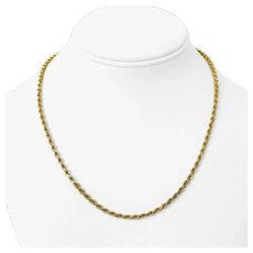 """14k Yellow Gold 16g Solid Diamond Cut 3mm Rope Chain Necklace 18"""""""