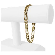 "14k Yellow Gold 25.9g Solid Heavy Men's 7.5mm Figaro Link Bracelet Italy 8.5"""