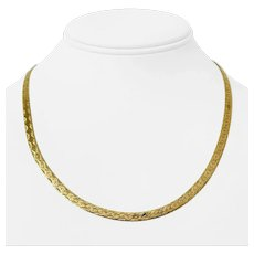 """14k Yellow Gold 13.3g Fancy Etched 4.5mm Herringbone Link Necklace Italy 18"""""""