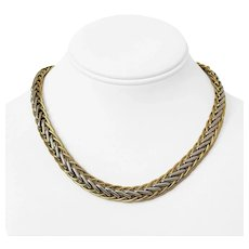 """14k Yellow White Gold Two Tone 29.7g Ladies Heavy 10mm Wheat Chain Necklace 17"""""""