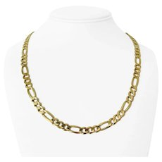 """14k Yellow Gold 36g Solid Heavy 7mm Figaro Link Chain Necklace 21"""""""