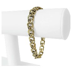"14k Yellow Gold 28.5g Heavy 8.5mm Double Circle Link Charm Bracelet 7.5"""