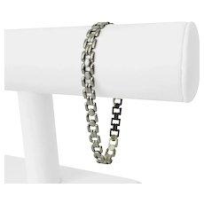 """14k White Gold 10.8g Ladies Milor 6.5mm Fancy Link Bracelet Italy 8"""""""