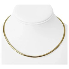 14k Yellow Gold 18.5g Ladies 3mm Omega Link Necklace 16""