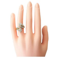 18k Yellow Gold 1.85ctw Diamond Bypass Ring Size 7