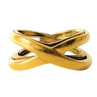 Tiffany & Co. Vintage 18k Yellow Gold Crossover Double Band X Ring Size 4.25