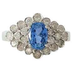 14k White Gold 1.35ct Blue Sapphire and .80ctw Diamond Ring Size 8