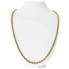14k Yellow Gold 52g Solid Heavy Long 4.5mm Diamond Cut Rope Chain Necklace 30""