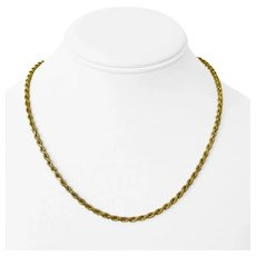 """14k Yellow Gold 16.7g Solid Ladies Diamond Cut 3mm Rope Chain Necklace Italy 18"""""""
