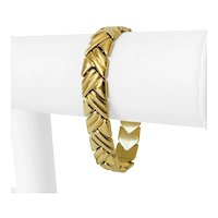 """14k Yellow Gold 21.3g Ladies Polished 12mm Fancy Link Bracelet Italy 6.75"""""""