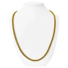 23k Yellow Gold 45.6g Heavy 4mm Squared Franco Link Chain Necklace 26""