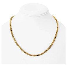 "18k Yellow Gold 22.2g Ladies 3.5mm Diamond Cut Fancy Barrel Link Necklace 19"""