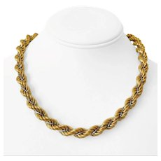"""14k Yellow White Gold Two Tone 50.9g Thick 10mm Rope Chain Necklace Italy 18"""""""