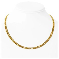 """24k Pure Yellow Gold 21.9g Ladies 4mm Figaro Link Chain Necklace 18"""""""