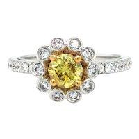 18k White Gold GIA Yellow Diamond Floral Engagement Ring Size 6