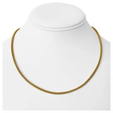 """22k Yellow Gold 12.5g Fancy 2.2mm Squared Beaded Style Chain Necklace 17.5"""""""
