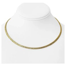 """14k Yellow Gold 21.5g Ladies 4mm Diamond Cut Omega Link Necklace Italy 17"""""""