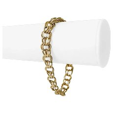 "14k Yellow Gold 26.7g Ladies 9mm Double Circle Link Charm Bracelet 7.5"""