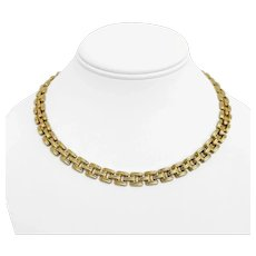 """14k Yellow Gold 29g Ladies 9mm Fancy Ribbed Panther Link Necklace Italy 17"""""""