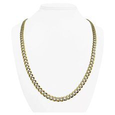 """14k Yellow White Gold 35g Solid 7mm Diamond Cut Curb Link Chain Necklace 24.5"""""""