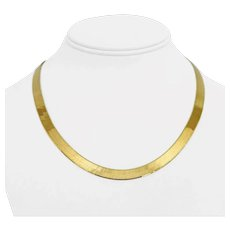 """14k Yellow Gold 20.7g Solid Ladies 7mm Herringbone Link Chain Necklace Italy 18"""""""