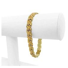 "18k Yellow Gold 13.5g Ladies 8mm Fancy X Link Bracelet Italy 7.25"""