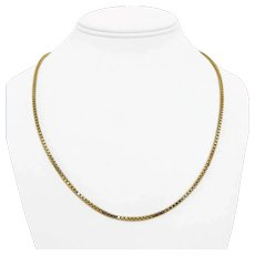 """14k Yellow Gold 17.7g Solid 2mm Box Link Chain Necklace Italy 21.5"""""""