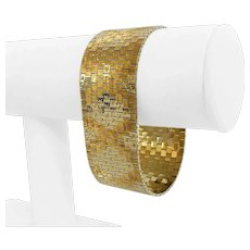 "14k Yellow Gold 68g Vintage Ladies Wide 26.5mm Strap Brick Link Bracelet 7.5"""
