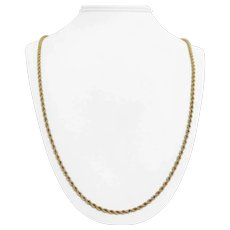 14k Yellow Gold 27.2g Solid Long 3mm Rope Chain Necklace 30""