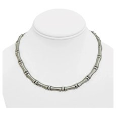 """14k White Gold 26.7g Ladies 7mm Bamboo Link Necklace Italy 17"""""""