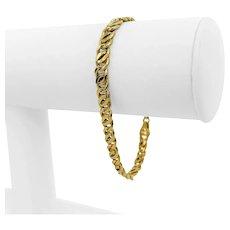 "14k Yellow Gold 6.8g Light Hollow 5mm Figure 8 Curb Link Bracelet Italy 7"""