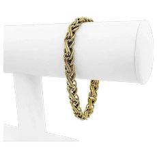 "14k Yellow Gold 7.6g Hollow 7.5mm Fancy Interlocking Link Bracelet Italy 7.25"""