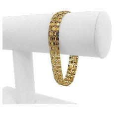 """14k Yellow Gold 12.6g Ladies 11.5mm Fancy Link Bracelet Turkey 7.25"""""""