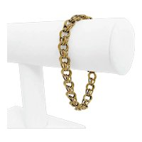 """14k Yellow Gold 21.8g Solid Ladies 9mm Double Curb Link Charm Bracelet 7.5"""""""