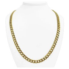"""14k Yellow Gold 23g Hollow 7.5mm Polished Curb Link Chain Necklace Turkey 24"""""""