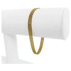"14k Yellow Gold 5.4g Ladies 5mm Fancy Link Chain Bracelet Italy 7"""