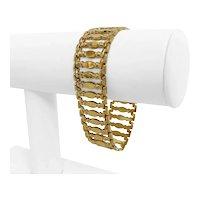 "14k Yellow Gold 25.2g Ladies Wide 20mm Fancy Link Bracelet Italy 7.25"""