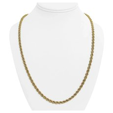 """14k Yellow Gold 15.8g Hollow 4.5mm Rope Chain Necklace 24"""""""